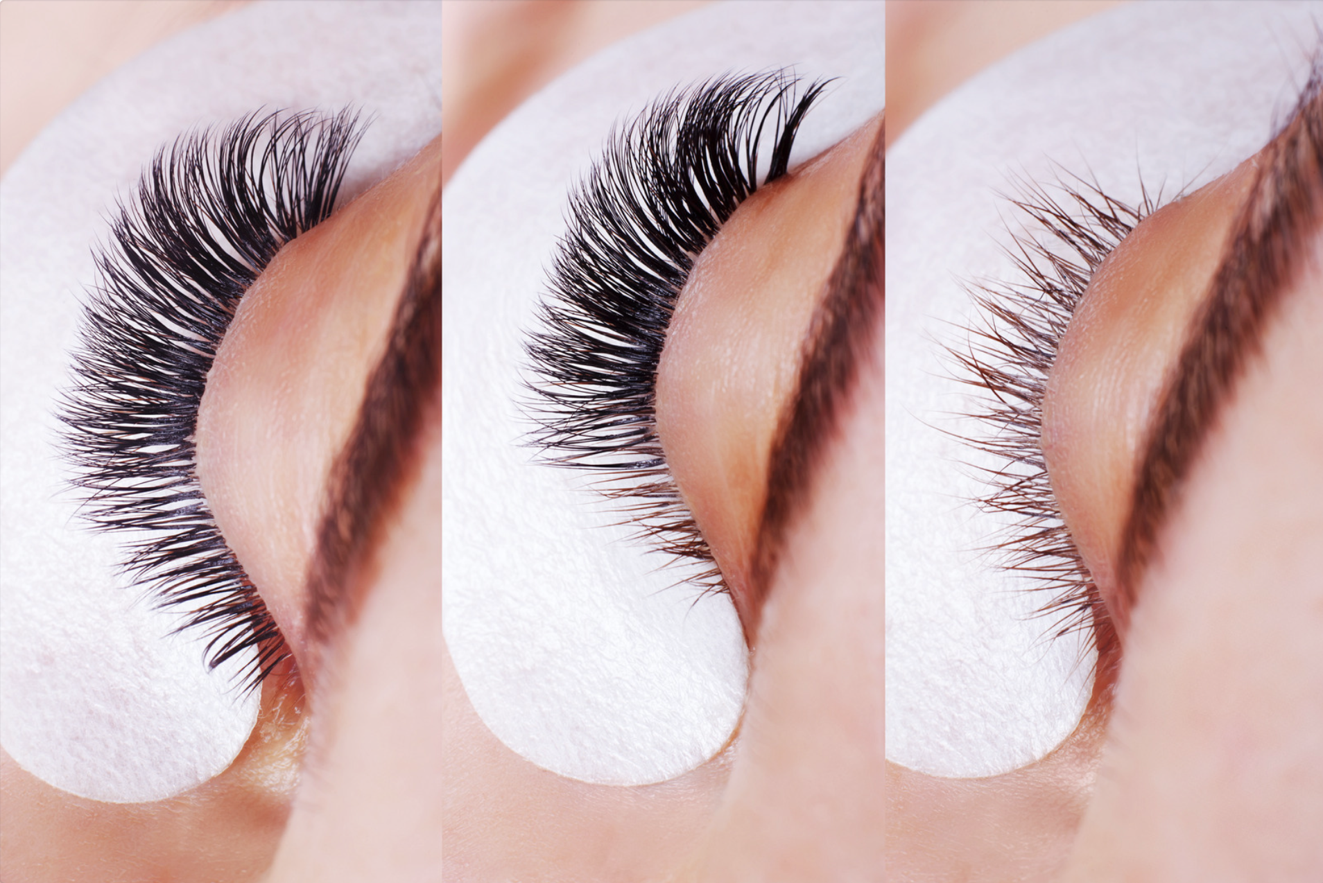 before during, and after lash installation